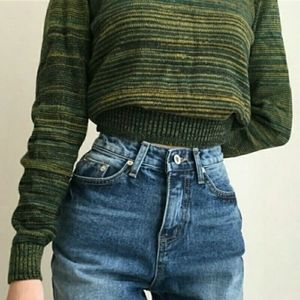☯️ American Apparel Sweater Crop Top in Sea Grass